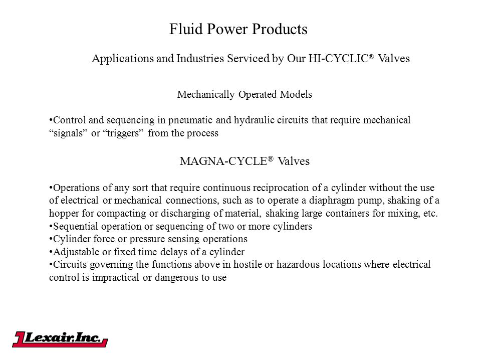 Fluid Power Products Applications and Industries Serviced by Our HI-CYCLIC® Valves. Mechanically Operated Models.