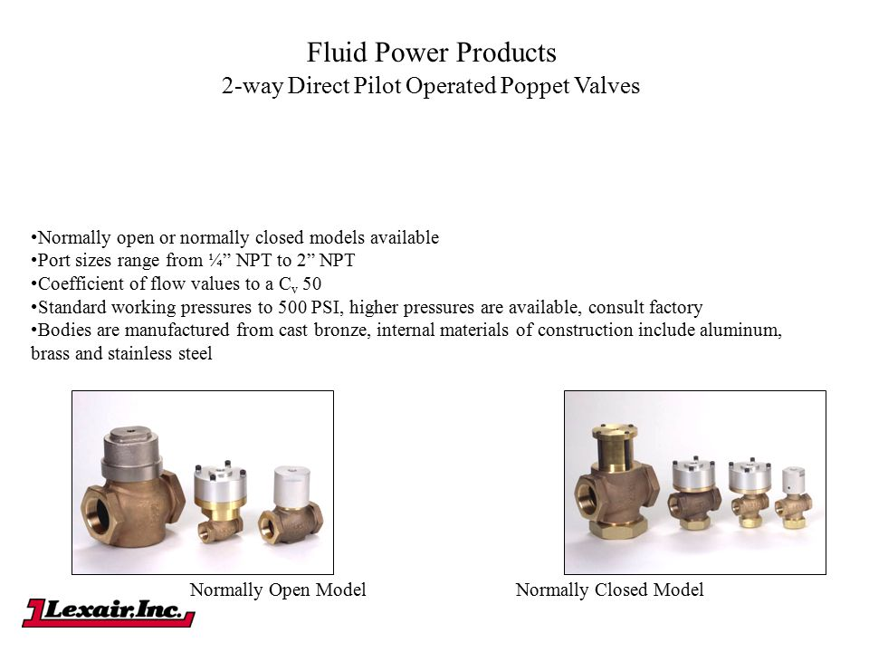 2-way Direct Pilot Operated Poppet Valves