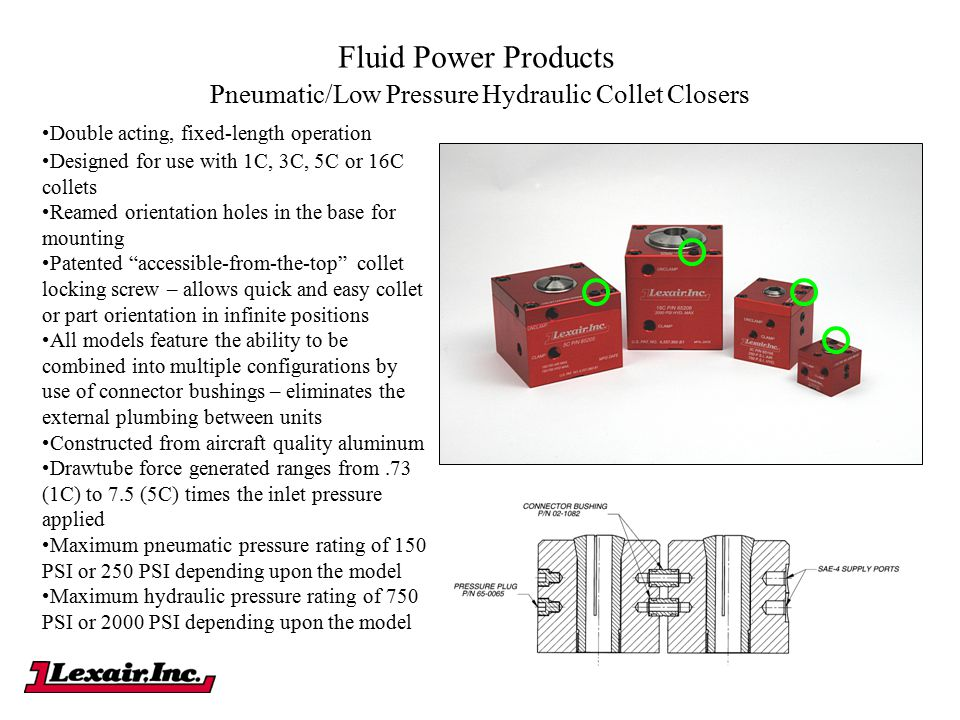 Fluid Power Products Pneumatic/Low Pressure Hydraulic Collet Closers