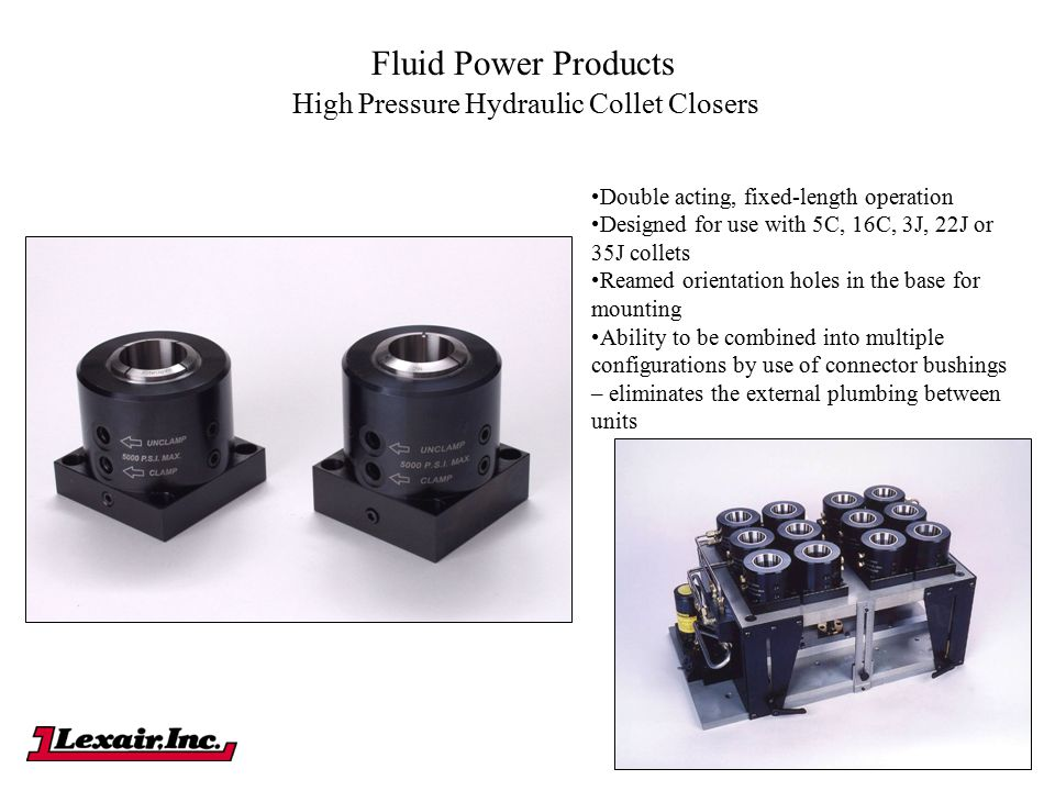 Fluid Power Products High Pressure Hydraulic Collet Closers