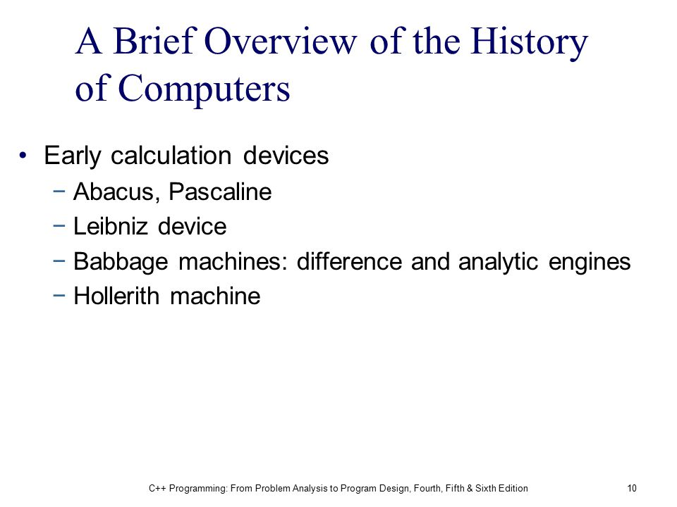 A Brief Overview of the History of Computers