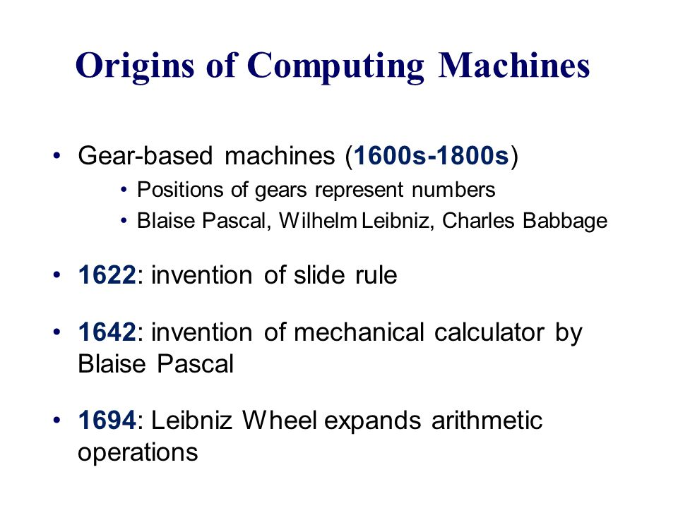 Origins of Computing Machines