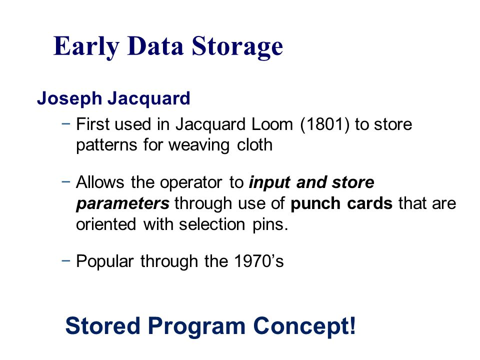 Early Data Storage Stored Program Concept! Joseph Jacquard