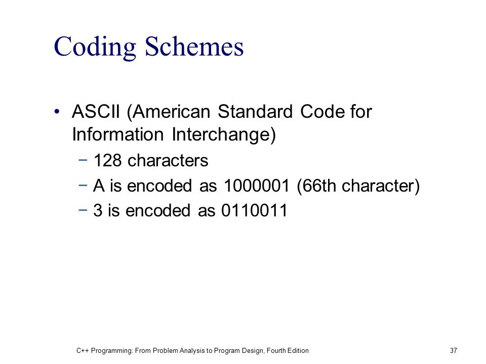 Coding Schemes ASCII (American Standard Code for Information Interchange) 128 characters. A is encoded as 1000001 (66th character)