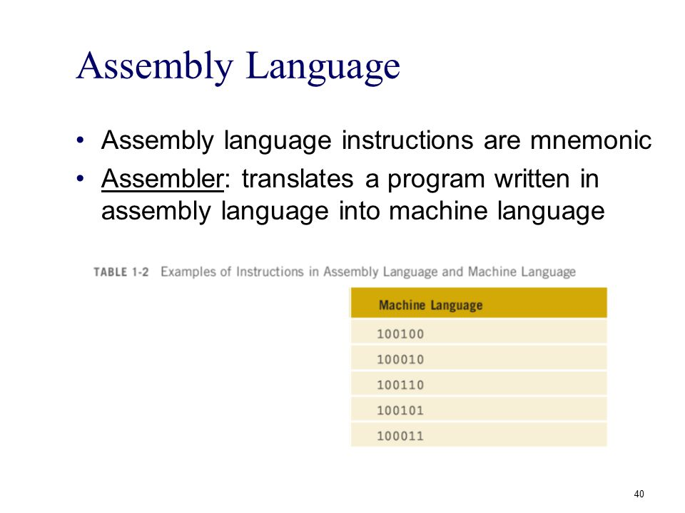 Assembly Language Assembly language instructions are mnemonic