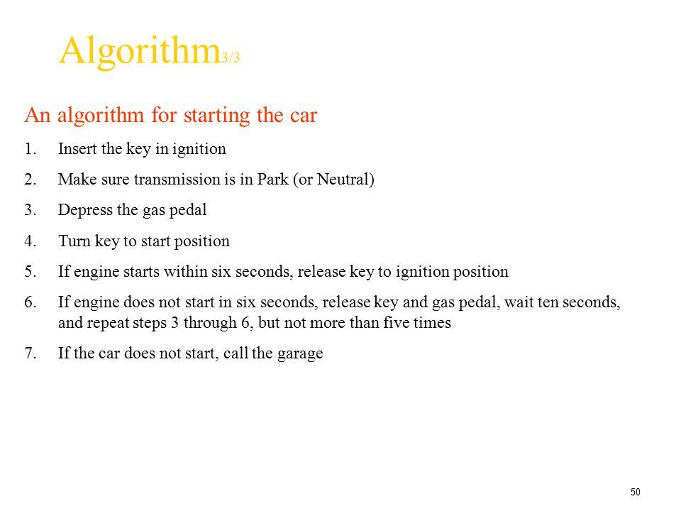 Algorithm3/3 An algorithm for starting the car