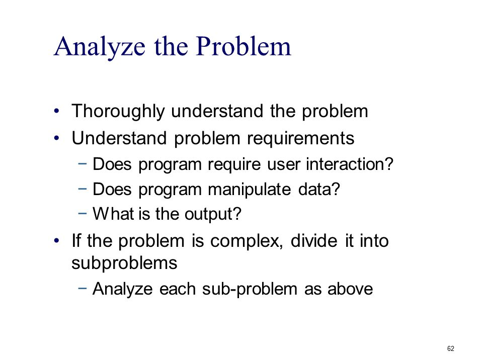 Analyze the Problem Thoroughly understand the problem