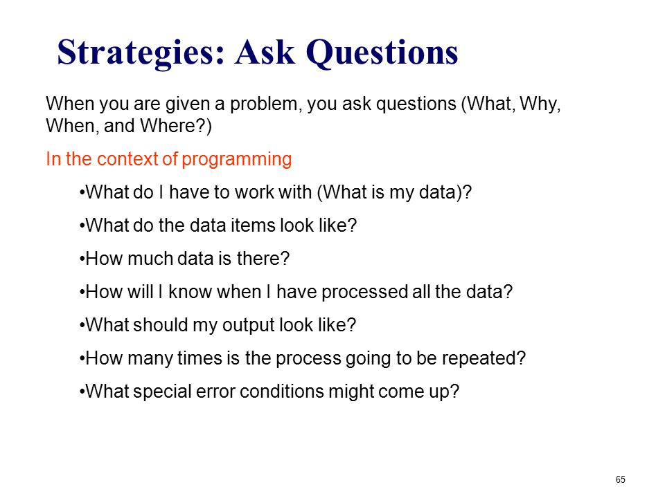 Strategies: Ask Questions
