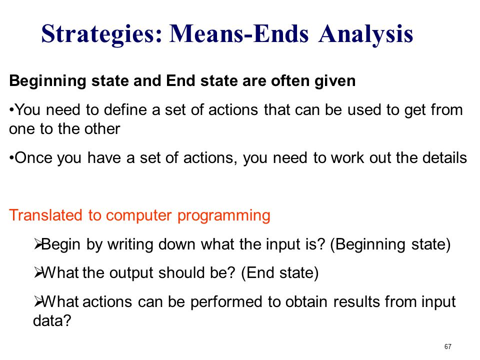 Strategies: Means-Ends Analysis