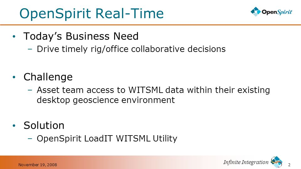OpenSpirit Real-Time Today's Business Need Challenge Solution