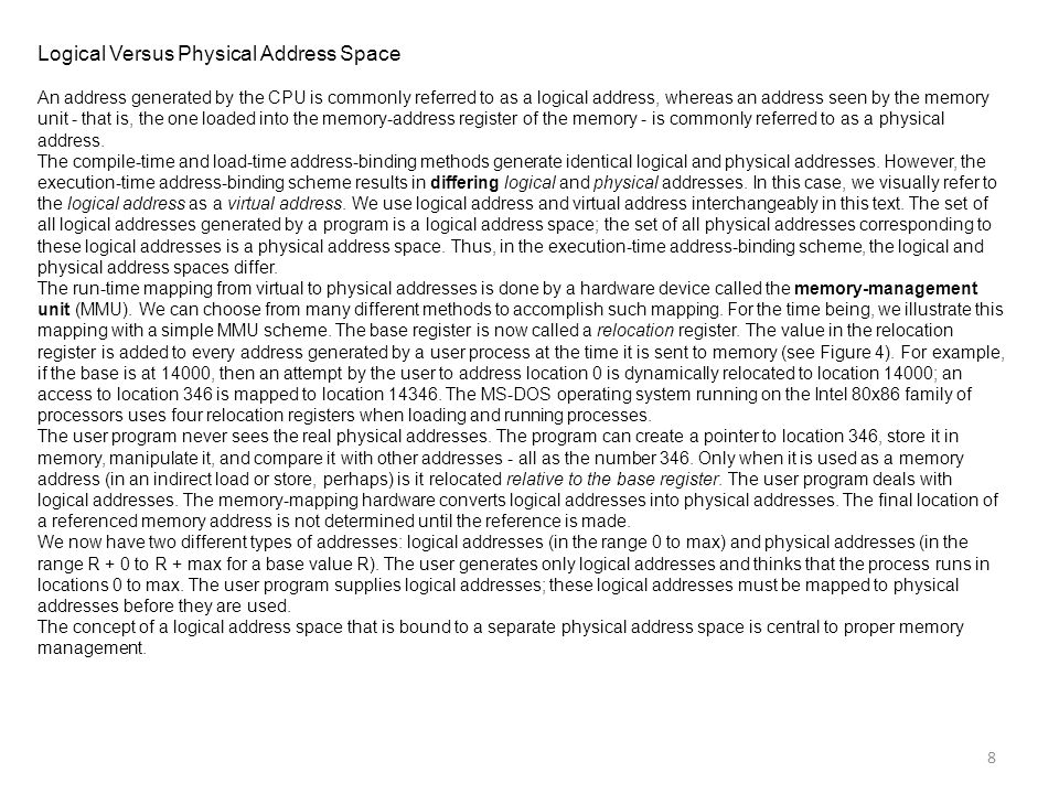 Logical Versus Physical Address Space
