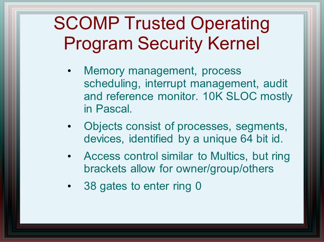 SCOMP Trusted Operating Program Security Kernel