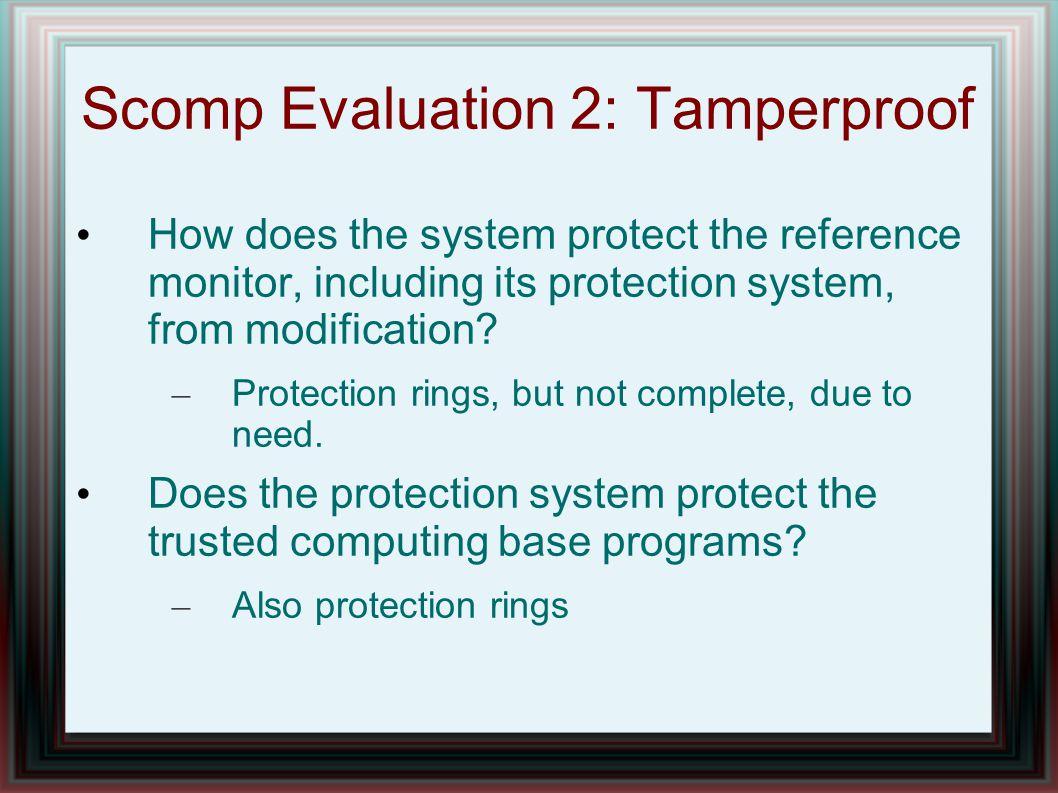 Scomp Evaluation 2: Tamperproof