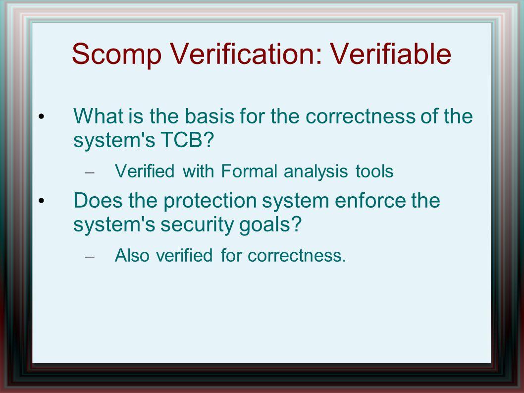 Scomp Verification: Verifiable