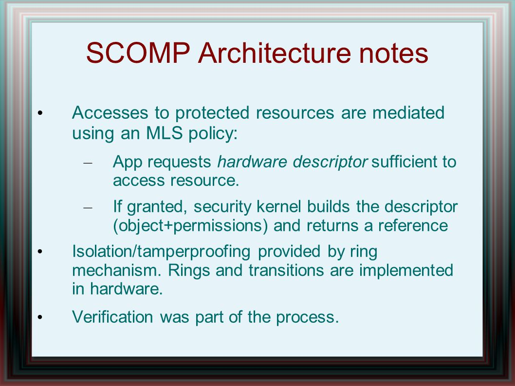 SCOMP Architecture notes