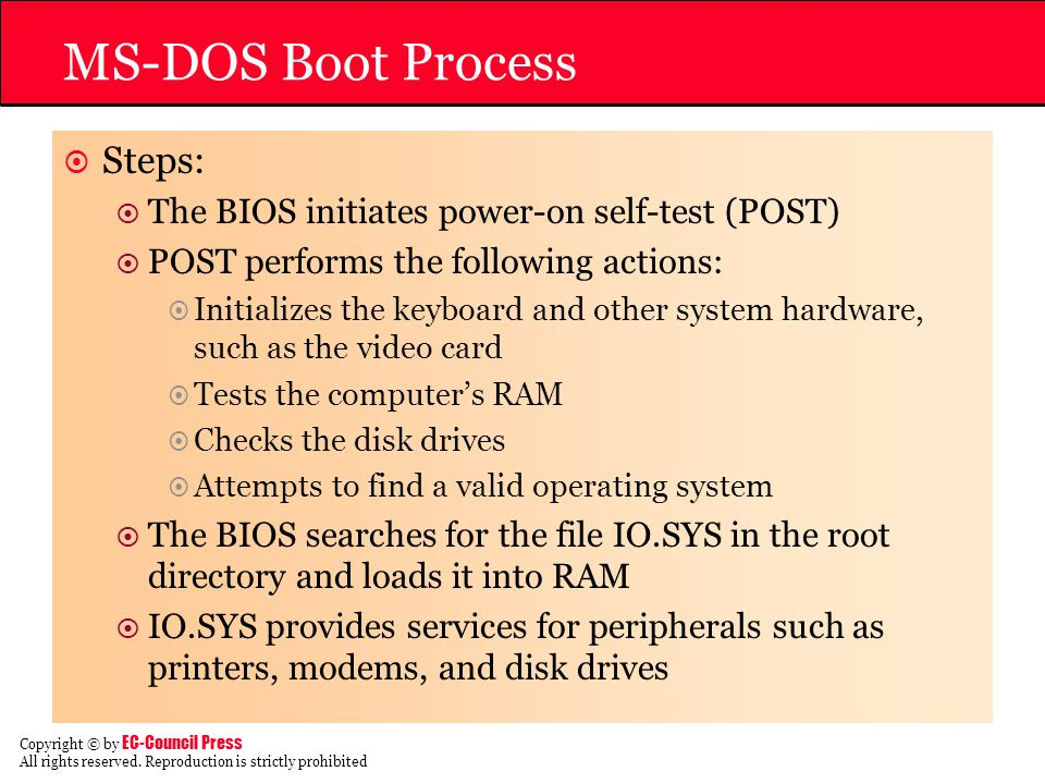 MS-DOS Boot Process Steps: