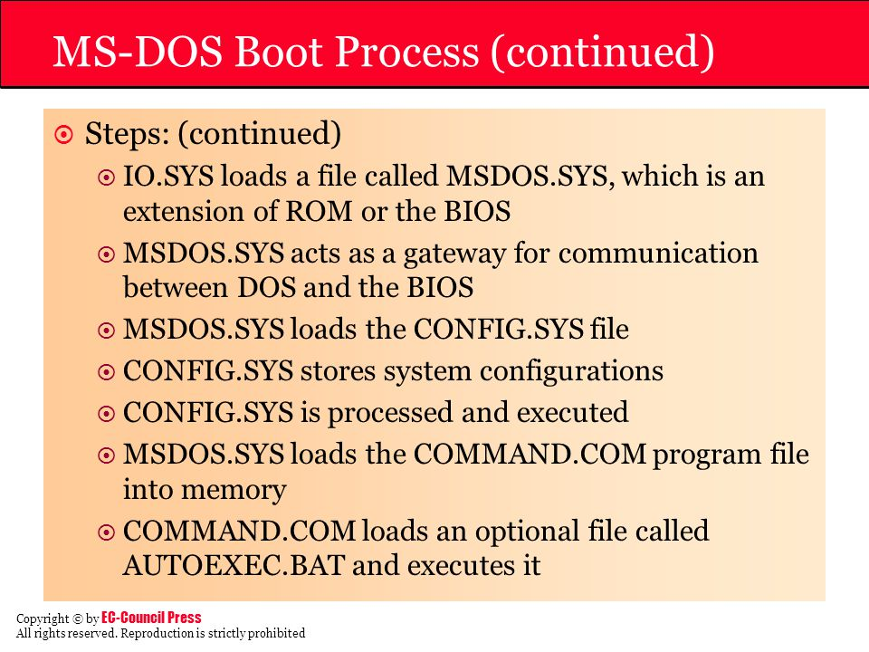 MS-DOS Boot Process (continued)