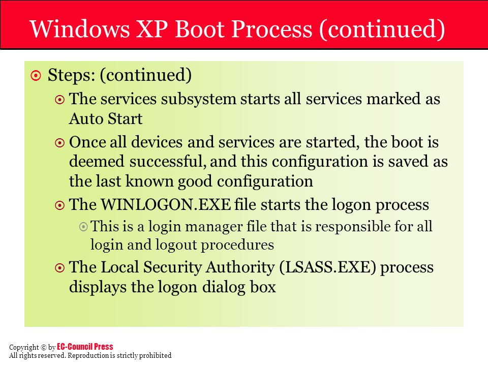 Windows XP Boot Process (continued)