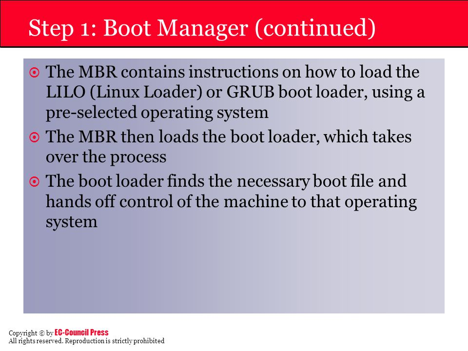Step 1: Boot Manager (continued)