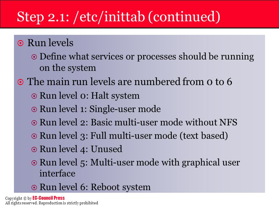 Step 2.1: /etc/inittab (continued)
