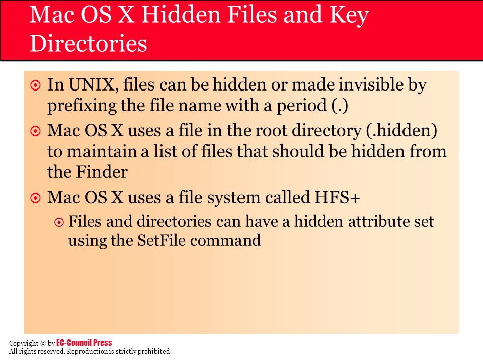 Mac OS X Hidden Files and Key Directories