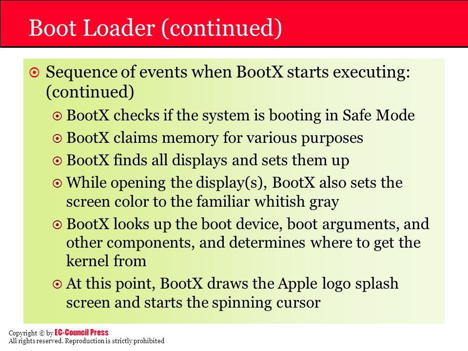 Boot Loader (continued)