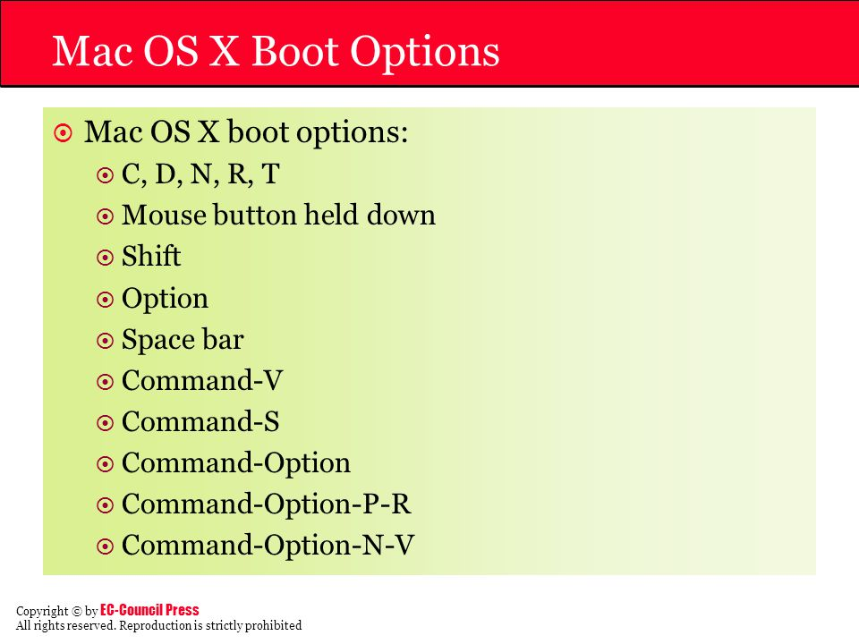 Mac OS X Boot Options Mac OS X boot options: C, D, N, R, T