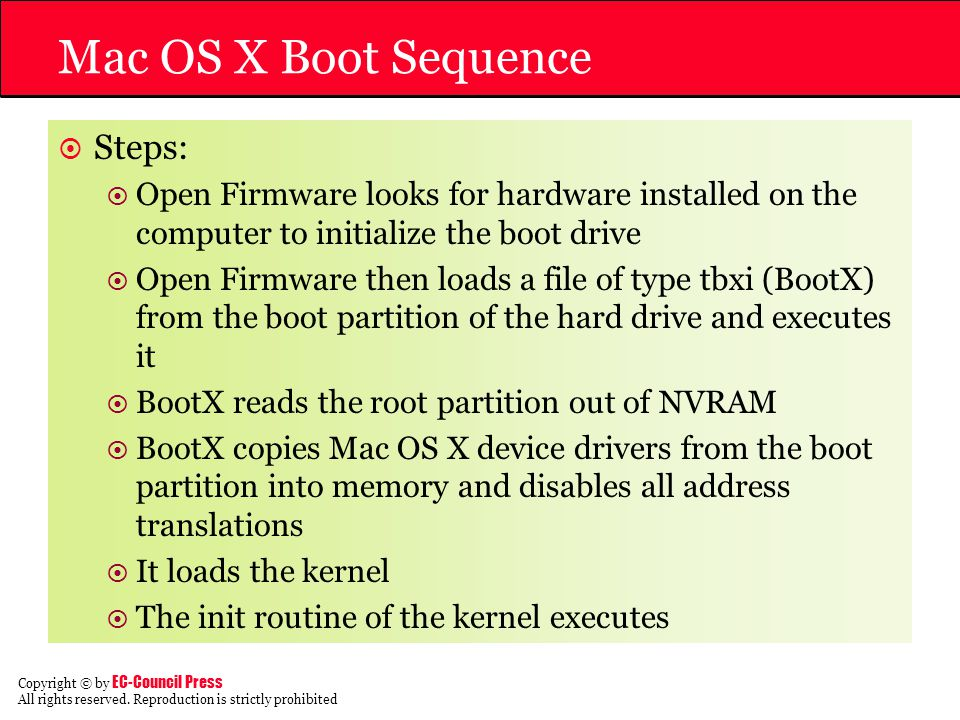 Mac OS X Boot Sequence Steps: