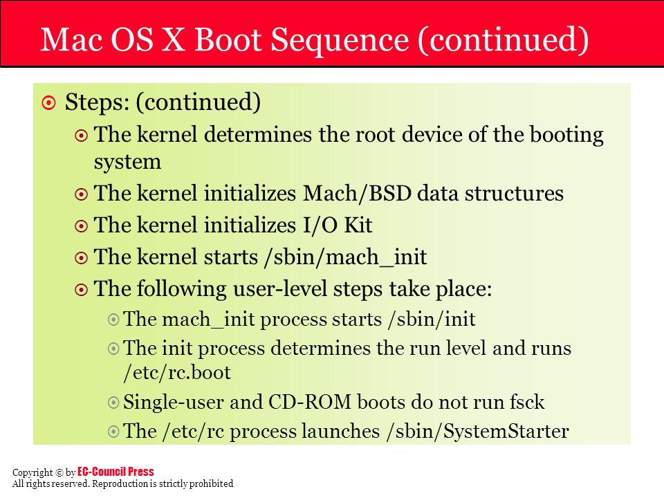 Mac OS X Boot Sequence (continued)