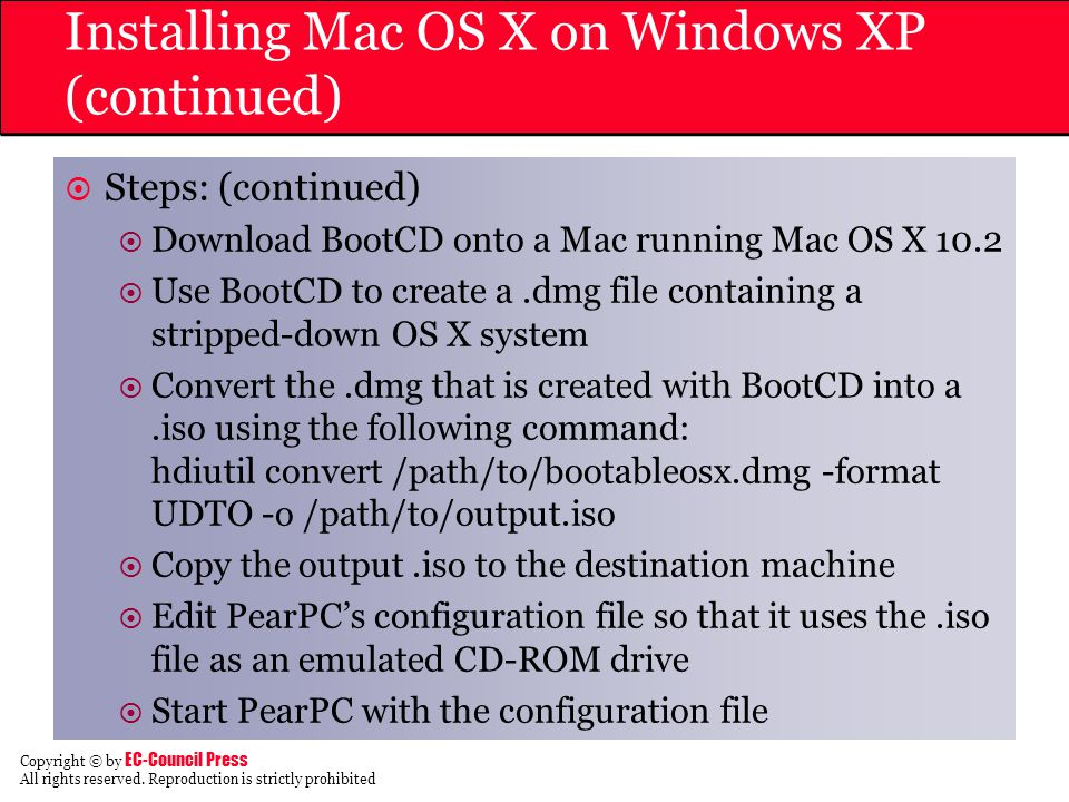 Installing Mac OS X on Windows XP (continued)