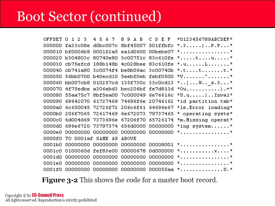 Boot Sector (continued)