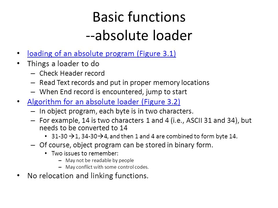 Basic functions --absolute loader