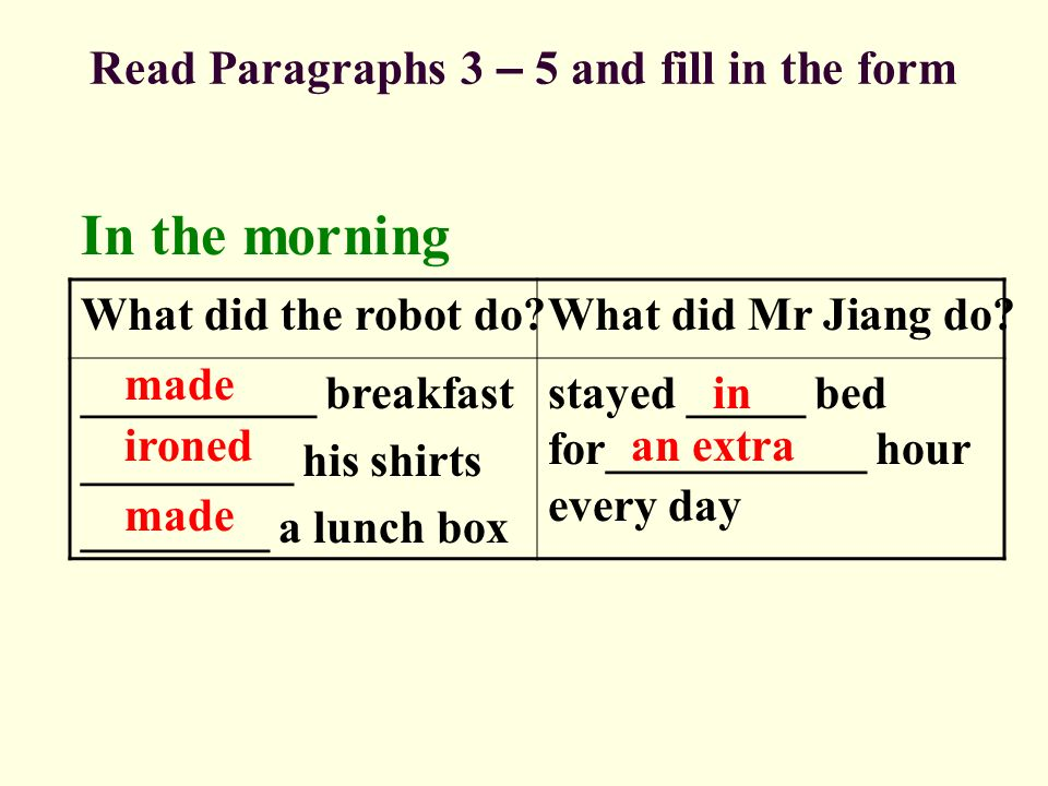Read Paragraphs 3 – 5 and fill in the form