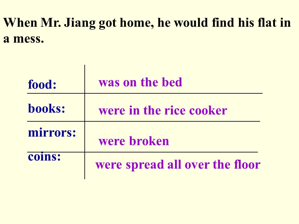 When Mr. Jiang got home, he would find his flat in a mess.