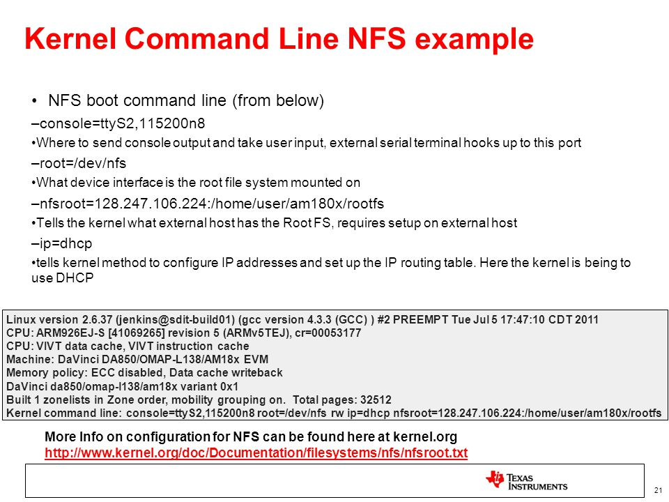 Kernel Command Line NFS example