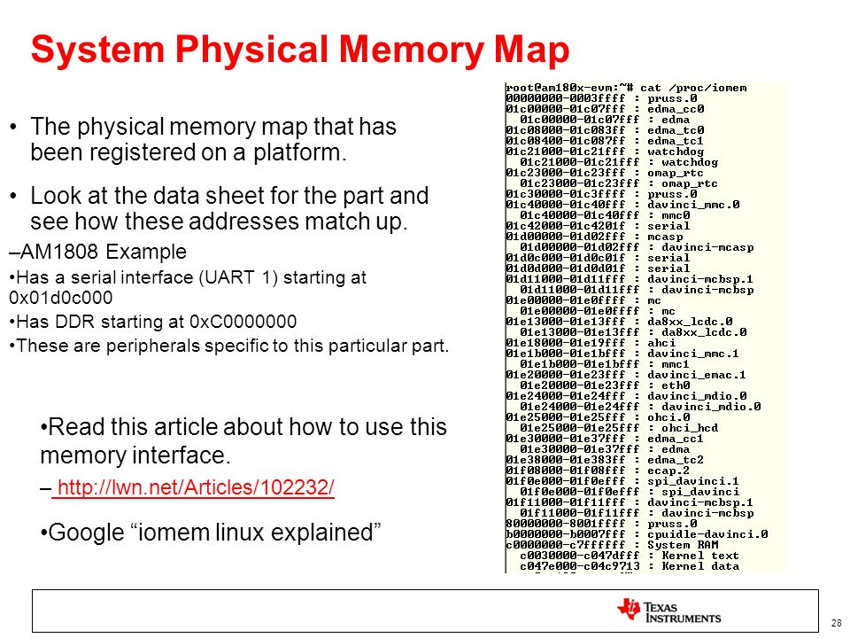 System Physical Memory Map