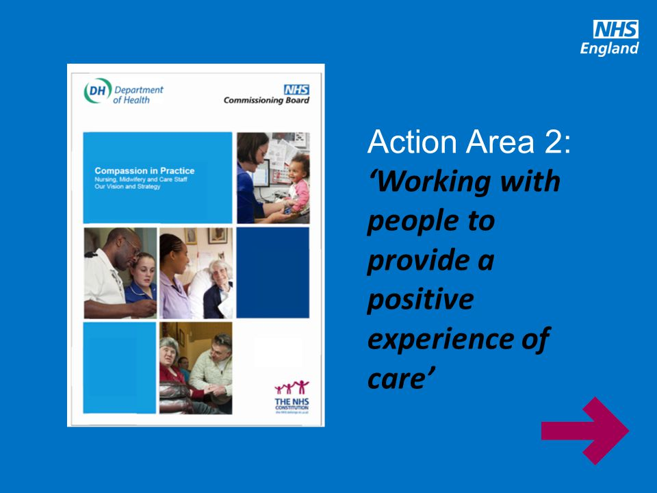 Action Area 2: 'Working with people to provide a positive experience of care'
