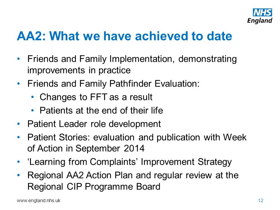 AA2: What we have achieved to date