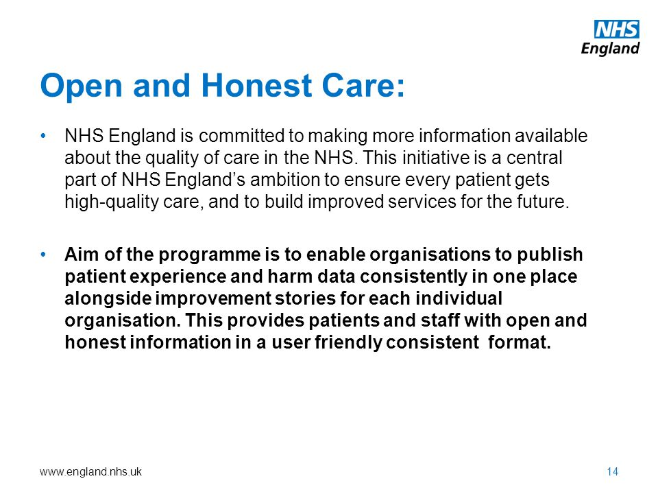 Open and Honest Care: