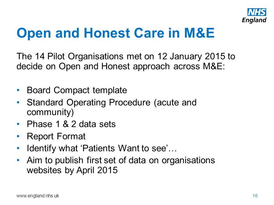 Open and Honest Care in M&E