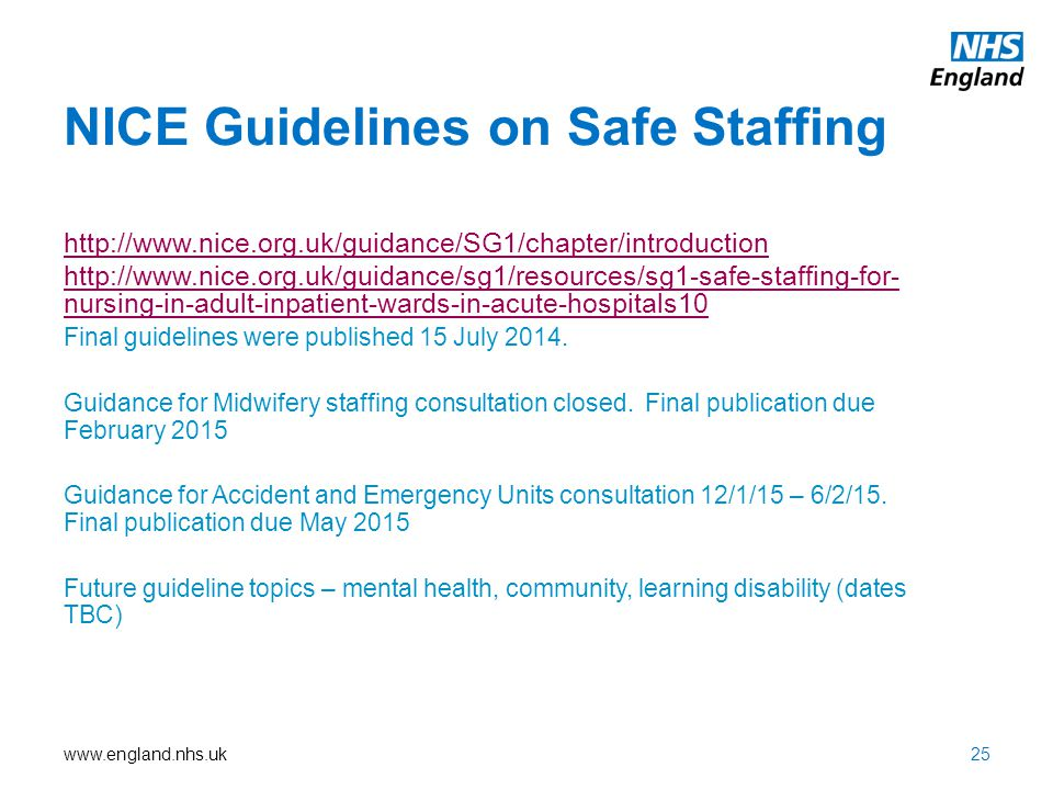 NICE Guidelines on Safe Staffing