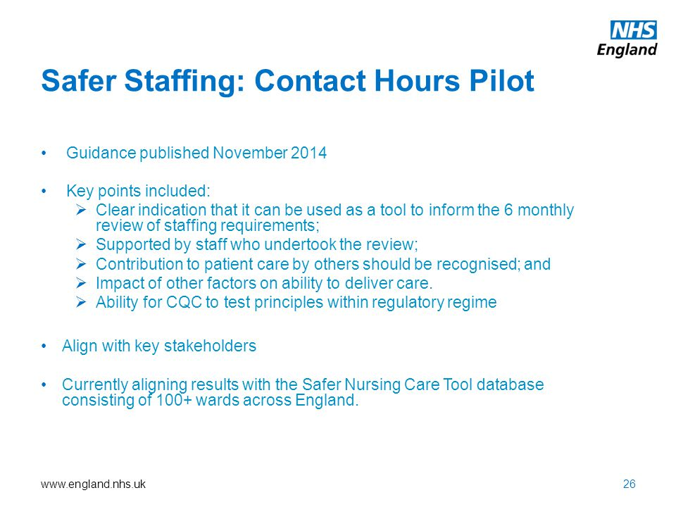 Safer Staffing: Contact Hours Pilot