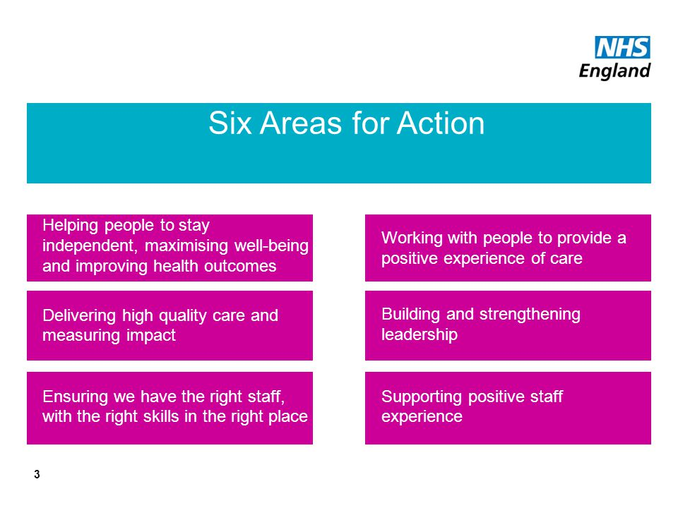 Six Areas for Action Helping people to stay independent, maximising well-being and improving health outcomes.