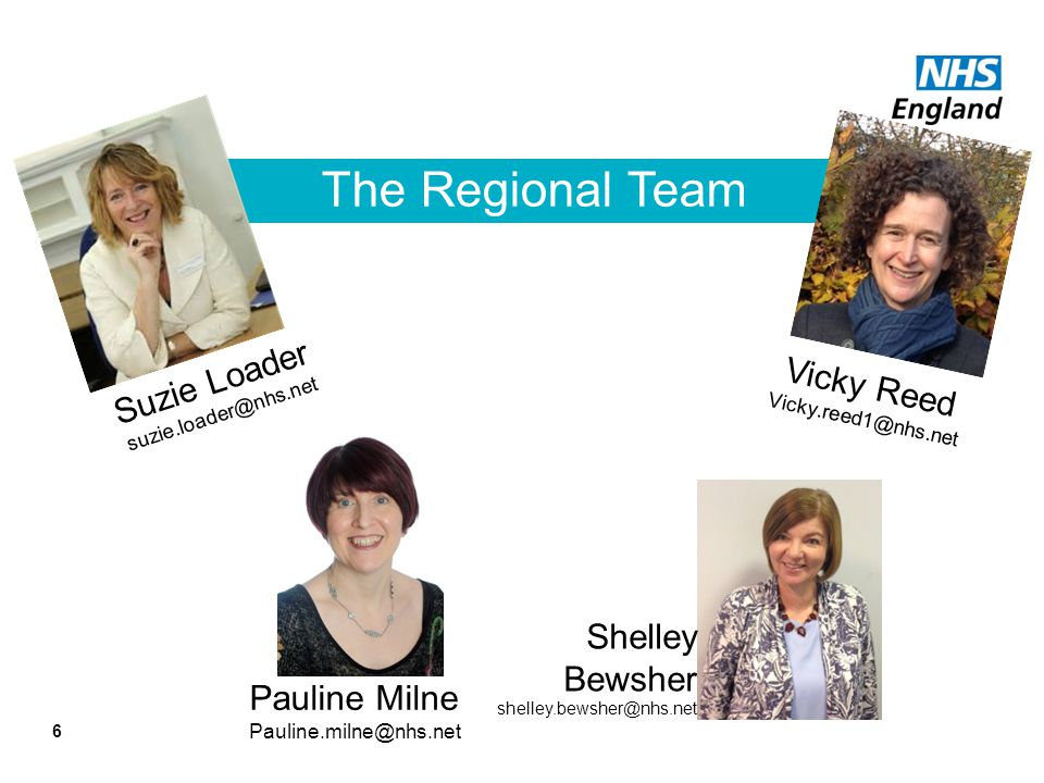 The Regional Team Suzie Loader Vicky Reed Shelley Bewsher