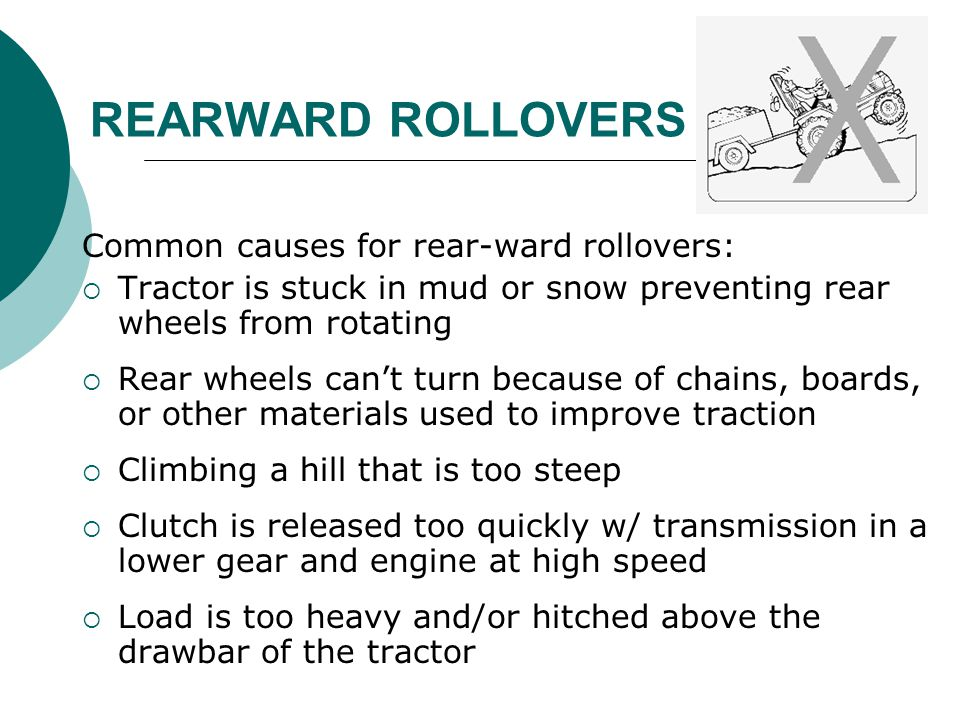 REARWARD ROLLOVERS Common causes for rear-ward rollovers: