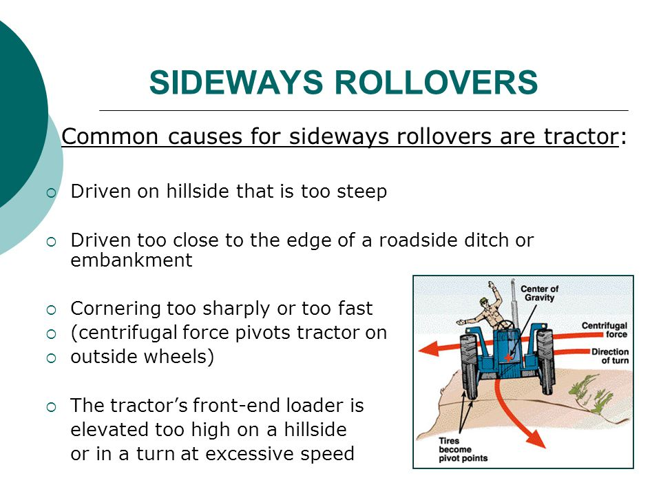 SIDEWAYS ROLLOVERS Common causes for sideways rollovers are tractor: