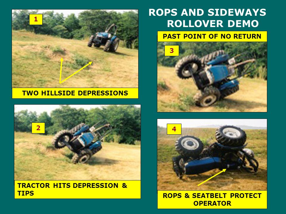 TWO HILLSIDE DEPRESSIONS ROPS & SEATBELT PROTECT OPERATOR
