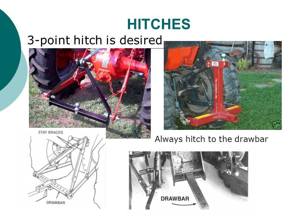 HITCHES 3-point hitch is desired Always hitch to the drawbar