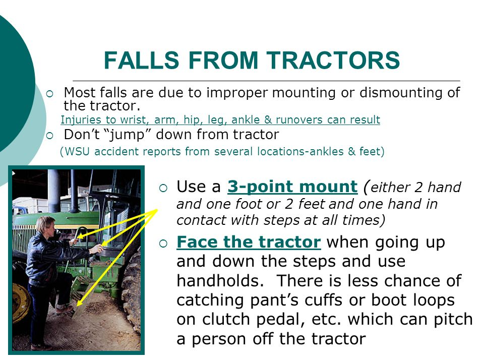 FALLS FROM TRACTORS Most falls are due to improper mounting or dismounting of the tractor.