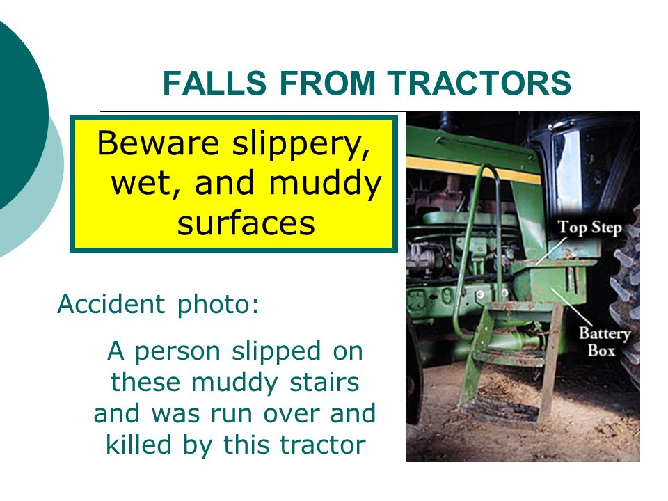 Beware slippery, wet, and muddy surfaces